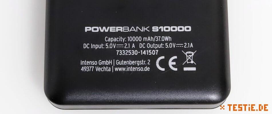powerbank test intenso Rückseite